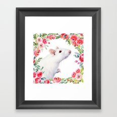 White Rat with Flowers Watercolor Floral Pattern Animal Framed Art Print