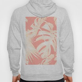Tropical Coral Pink Palm Leaf Pattern Hoody