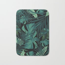 Tropical Jungle Night Leaves Pattern #1 #tropical #decor #art #society6 Bath Mat