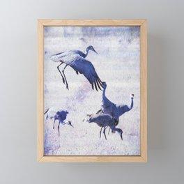 Hopping Crane Framed Mini Art Print