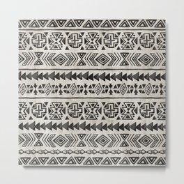 Boho Tribal Black & Cream, Geometric Print, Ink Tribal Decor Metal Print