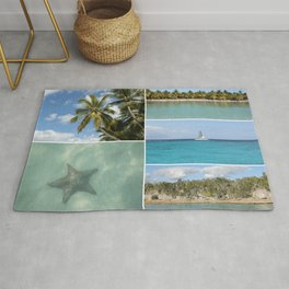 Caribbean Travel Vacation Photo Collage Rug