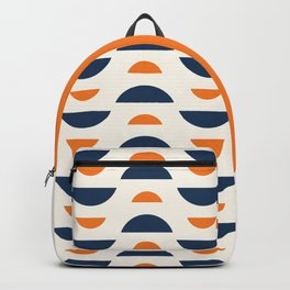Abstract Shapes 65 in Burnt Orange and Navy Blue (Moon Phases Abstract) Backpack