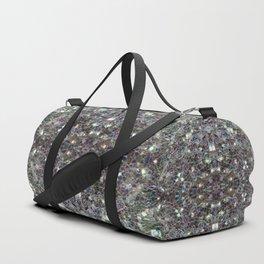 Sparkly colourful silver mosaic mandala Duffle Bag