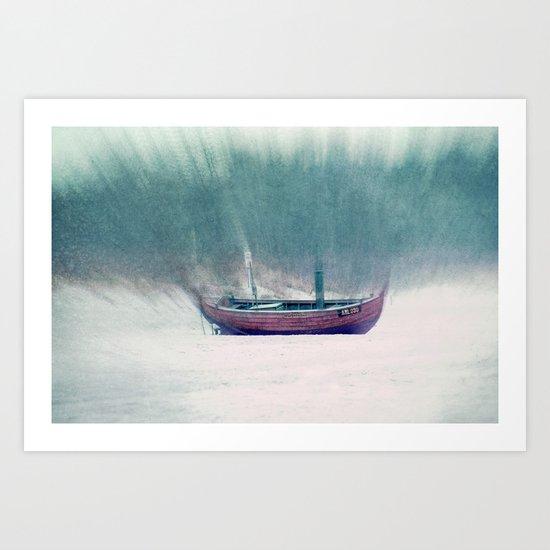 pink fishing boat Art Print