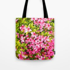 Colorful garden flowers, pink azalea. Floral photography. Tote Bag
