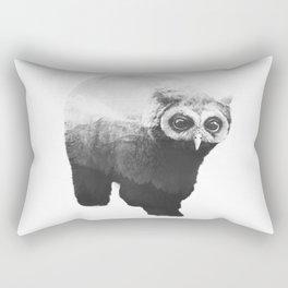 Owlbear in Mountains (Black & White) Rectangular Pillow