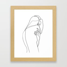 Woman line drawing, minimal single line art Framed Art Print
