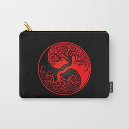 Red and Black Tree of Life Yin Yang Carry-All Pouch