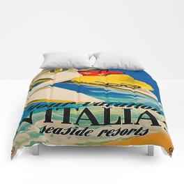 Vintage Italian Seaside Resorts Travel Ad Comforters