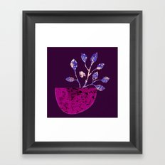 pot and branch on purple Framed Art Print