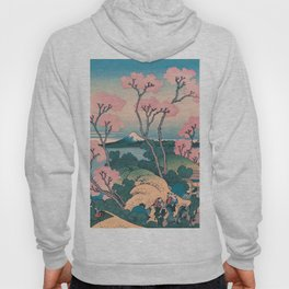 Spring Picnic under Cherry Tree Flowers, with Mount Fuji background Hoody