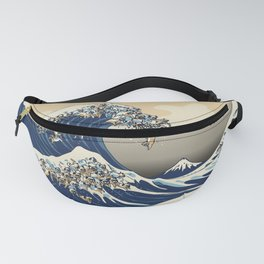 The Great Wave of Pugs Vanilla Sky Fanny Pack