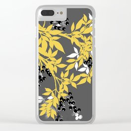 TREE BRANCHES YELLOW GRAY  AND BLACK LEAVES AND BERRIES Clear iPhone Case