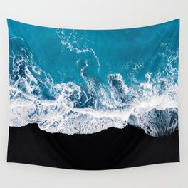 Black sand beach with waves and blue Ocean in Iceland – Minimal Photography Wall Tapestry