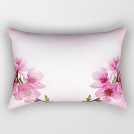 Pink blossom tree in the background bokeh blurred effect Rectangular Pillow