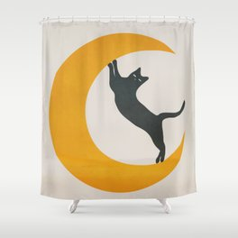 Moon and Cat Shower Curtain