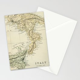 Vintage Retro Map Southern Italy Stationery Cards