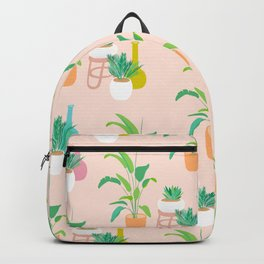 Cute tropical plant pattern on peach Backpack