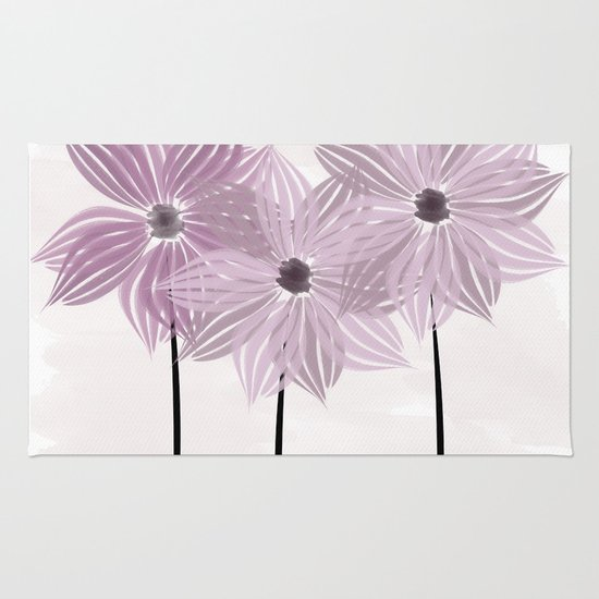 Lilac Pink Watercolor Flowers Rug