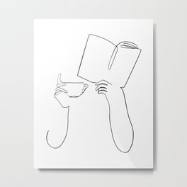 Book & Coffee Metal Print