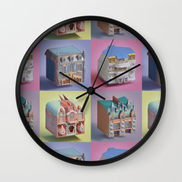 buildingS low poly 01 Wall Clock