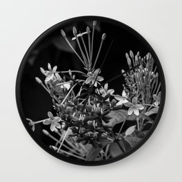 Black and White Flowers in the Dominican Republic Wall Clock