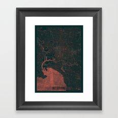 Melbourne Map Red Framed Art Print