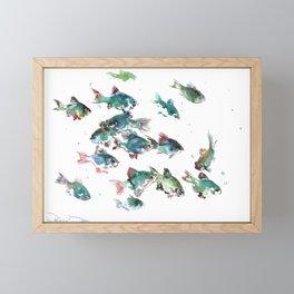 Barb Fish, green turquoise aquatic fish design aquarium Framed Mini Art Print
