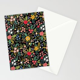 Amazing floral pattern with bright colorful flowers, plants, branches and berries on a black backgro Stationery Cards