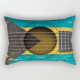 Old Vintage Acoustic Guitar with Bahamas Flag Rectangular Pillow