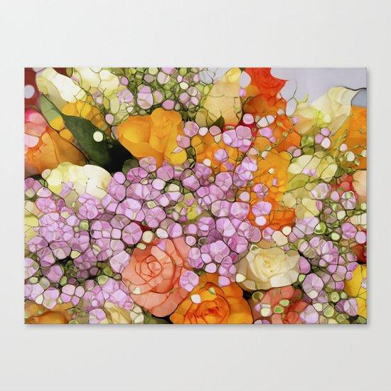 Mosaic Vintage-  Floral Spring Sparkles Canvas Print