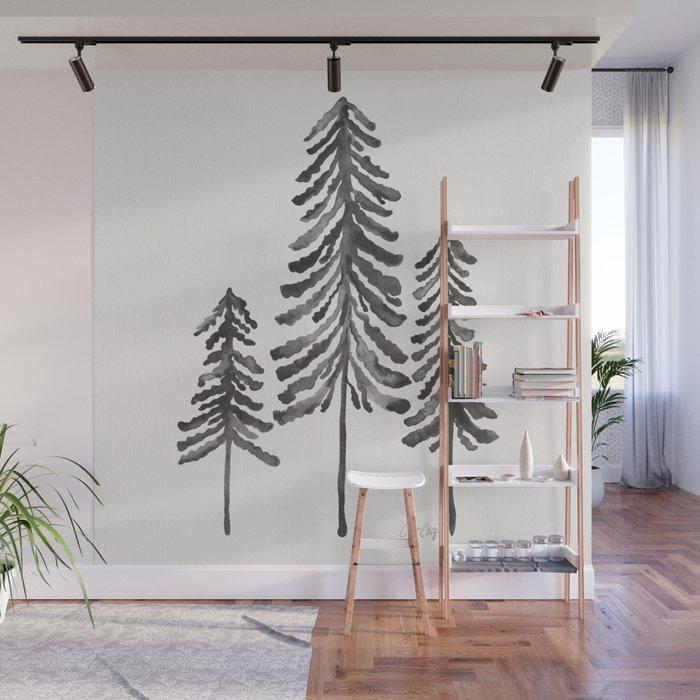 Pine Trees – Black Ink Wall Mural