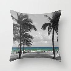 Miami Beach Florida Ocean Throw Pillow