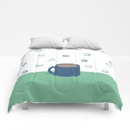 Teal Aromas Comforters