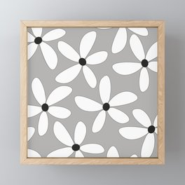 Happy flowers Gray Framed Mini Art Print