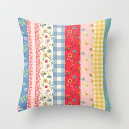 Happy patchwork stripe Throw Pillow