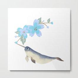 Narwhal Flowers Lavender Blue Blossom Metal Print