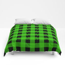 Grass Green and Black Buffalo Check Comforters
