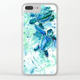 Turquoise Blue Sea Turtles in Ocean Clear iPhone Case