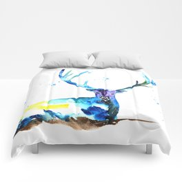 WATERCOLOR STAG PAINTING ORIGINAL Comforters
