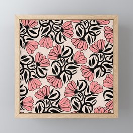 Modern Girly Mauve Pink Black Floral Illustrations Framed Mini Art Print