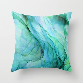 Sea Green Flowing Waves Abstract Ink Painting Throw Pillow