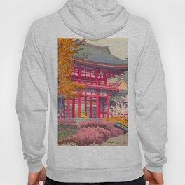 Japanese Woodblock Print Vintage Bright East Asian Red Pagoda Spring Garden Hoody