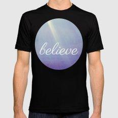 Believe {Purple Version} Black Mens Fitted Tee MEDIUM