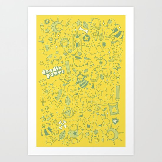 Super Mega Turbo Doodle Power Art Print