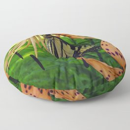The Swallowtail and The Tiger Lily Floor Pillow