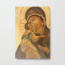 Orthodox Icon of Virgin Mary and Baby Jesus Metal Print