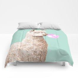 Playful Alpaca Chewing Bubble Gum in Green Comforters