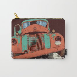 Art print: The old vintage car and the wolf skull Carry-All Pouch